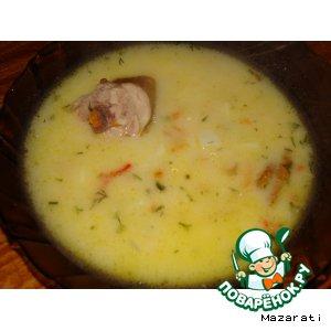Рецепт: Суп со сметаной и копченым мясом