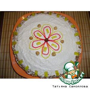 Рецепт: Морковный торт с творожным кремом и фундуком