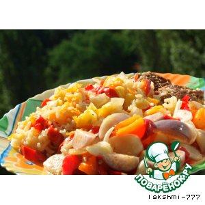 """Рецепт Вкусный рис под """"шубой"""" из перца и помидор на овощной подушке"""