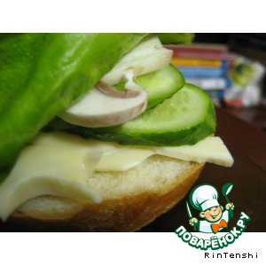 Рецепт: Бутерброд с шампиньонами