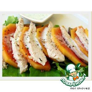 Рецепт: Салат из папайи и куриного филе под пармезановым соусом