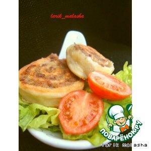 Рецепт: Спиральки из творожного теста с мясом