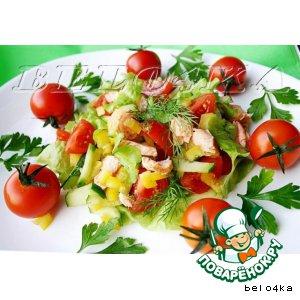 Рецепт: Теплый салат с форелью