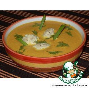 Рецепт: Суп-пюре из тыквы с куриными клецками