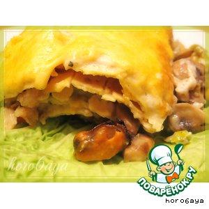 Рецепт: Лазанья с морепродуктами и грибами