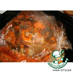 Рецепт: Свинина с чесноком в рукаве