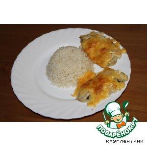 Рецепт: Рыба с шубкой из мяты, яблока и сыра