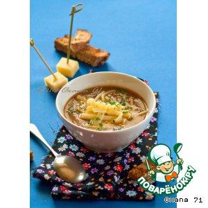Рецепт: Cуп-пюре из чечевицы с макаронами