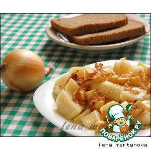 Рецепт: Отварной картофель с фальшивыми шкварками