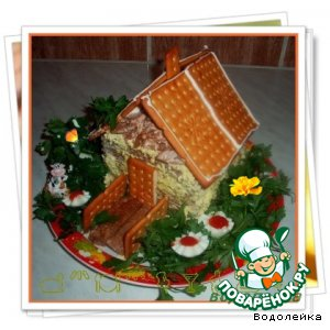 """Рецепт: Закусочный торт """"Домик в деревне"""""""