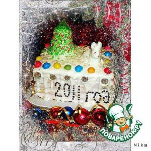 """Рецепт: Творожно-сливочный торт """"Новогодний"""""""