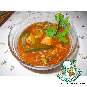 Рецепт: Бамия с рыбой в томатном соусе