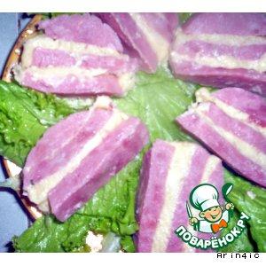 Рецепт Слоеная закуска из ветчины, сыра и масла