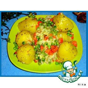 Рецепт: Морской черт, запеченный с овощами