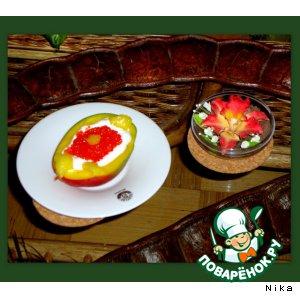 Рецепт: Манго со сливками и красной икрой