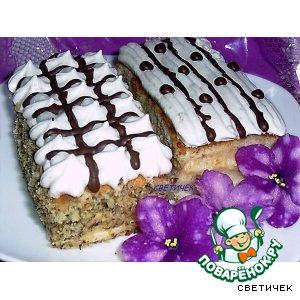 Рецепт: Бисквитное пирожное с двумя видами крема