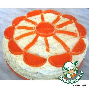 Рецепт: Торт с творожным кремом Солнечный круг