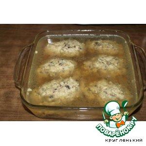 Рецепт: Заливные котлетки из курицы и грибов