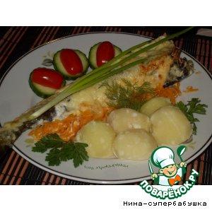 Рецепт: Навага, фаршированная грибами на морковной подушке