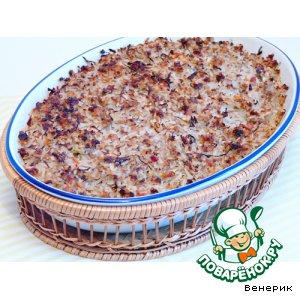 Рецепт: Запеканка из мясного фарша и квашеной капусты