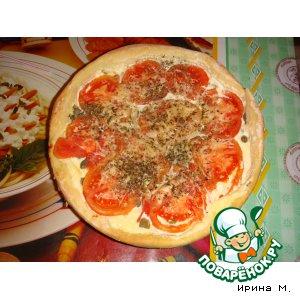 Рецепт: Пицца с сырным кремом и томатами