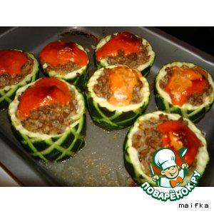 Рецепт: Кабачки фаршированные Бочонки