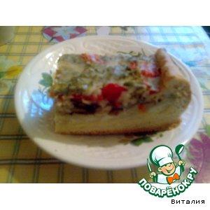 Рецепт: Заливной пирог с грибами и картофелем