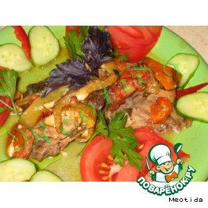 Рецепт: Курица с овощами в красном вине