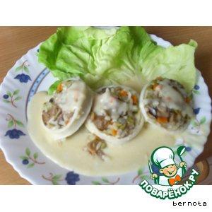 Рецепт: Фаршированые кальмары с соусом бешамель
