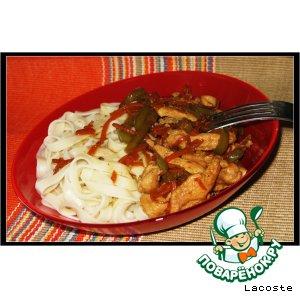 Рецепт: Лапша Удон с курицей в китайском стиле