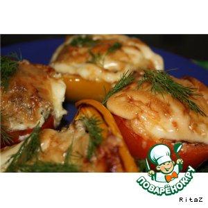 Рецепт: Запеченные перцы и помидоры с фаршем