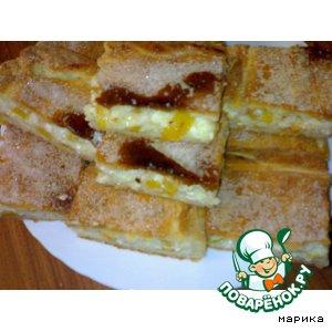 Рецепт: Пирог с творогом и персиками