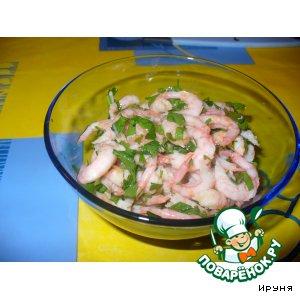 Рецепт: Креветки в чесночно-лимонном соусе