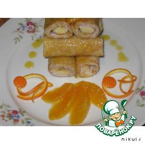 Рецепт: Блинчики с бананами и апельсиновым соусом