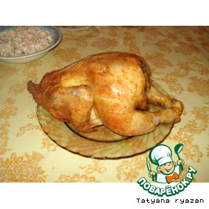 Рецепт: Курица на бутылке