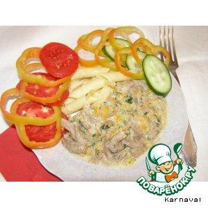 Рецепт: Говядина в сливочном соусе