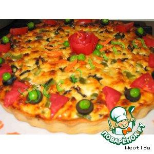 Рецепт: Открытый пирог-киш с рыбкой