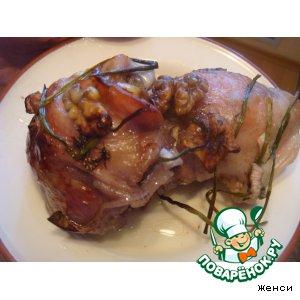 Рецепт: Винно-ореховая курица в банке