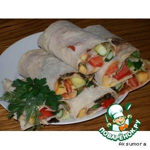 Рецепт: Овощные рулетики из лаваша