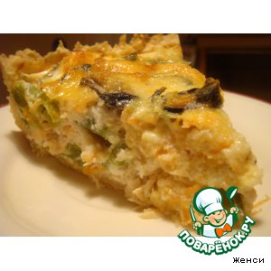 Рецепт: Открытый пирог с мидиями и семгой