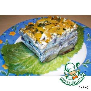 Рецепт: Баклажановый торт с опятами