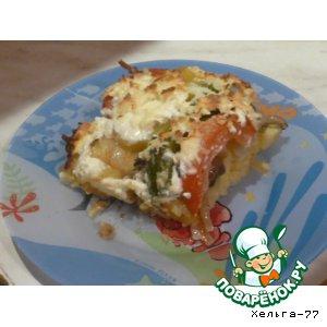 """Рецепт: Картофельно-грибная запеканка под овощной """"черепицей"""""""