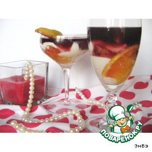 Рецепт: Творожный десерт с фруктами и вином