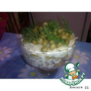 Рецепт: Слоеный салатик с говяжьим сердцем
