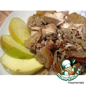 Рецепт: Курица с яблоками в рукаве
