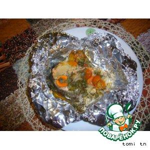 Рецепт: Рыба, запеченная с овощами в фольге