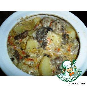 Рецепт: Жаркое Сливочное с грибами и сыром