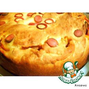 Рецепт: Пирог с мясом, тыквой и маринованными огурцами