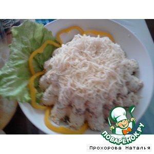 Рецепт: Салат-торт с курицей и грибами
