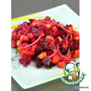 Рецепт: Винегрет с манго и черносливом с фруктовой заправкой